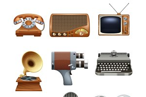 Retro nostalgic pictograms