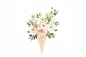 Waffle cone with ranunculus