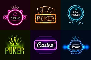 Neon light casino emblems set