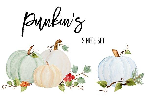 Fall Pumpkins, Leaves & Berries
