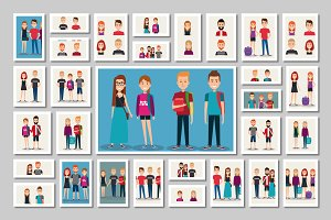 Young people vector pack