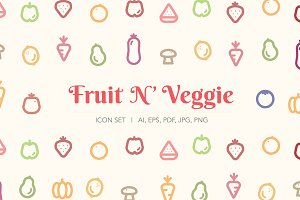 Fruit N' Veggie Icon Set