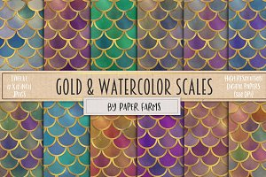 Gold and watercolor mermaid scales
