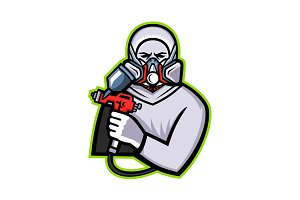 Industrial Spray Painter Mascot