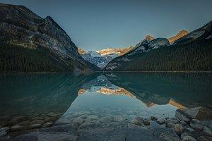 Reflected Sunrise at Lake Louise