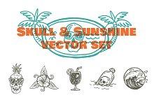 Skull & Sunshine Vector Set
