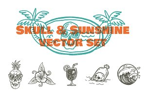 Skull & Sunshine Vector Set