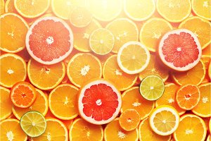 Citrus fruits background (orange, lemon, grapefruit, mandarin, lime). Food frame, vitamin concept, copy space, banner
