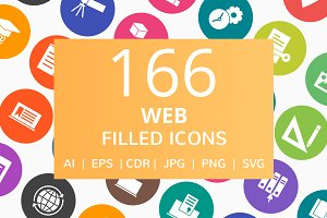 166 Web Filled Round Icons