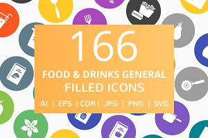 166 Food & Drinks Filled Round Icons