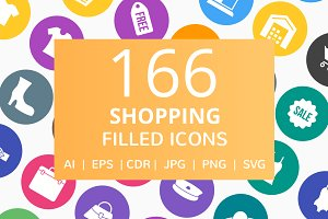 166 Shopping Filled Round Icons