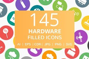 166 Hardware Filled Round Icons