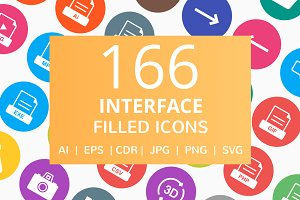 166 Interface Filled Round Icons
