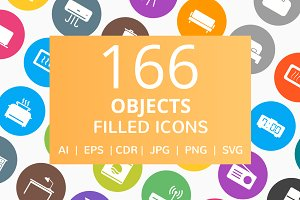 166 Objects Filled Round Icons