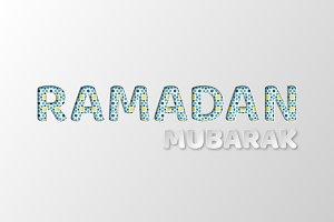 Ramadan Mubarak typography design.