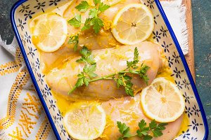 Baking dish with Lemon chicken