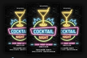 Cocktail Neon Party Flyer