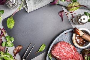 Grill steak ingredients frame