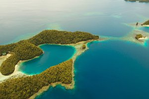 Aerial view tropical lagoon,sea, beach.Bucas Grande Island, Sohoton Cove. Philippines.