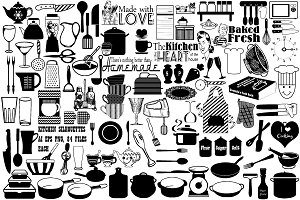 Kitchen Silhouettes AI EPS PNG