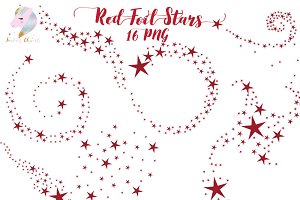 Red Foil Swirling Stars Clipart