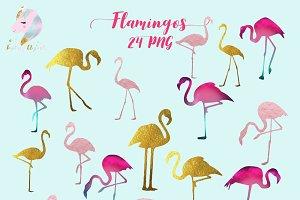 Flamingos Silhouette Clipart