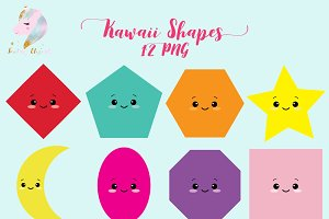 Cute Kawaii Shapes Clipart