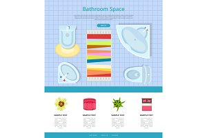 Bathroom Space Interior Design Vector Illustration