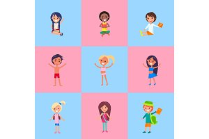Playful Children Showing Emotions Vector Poster