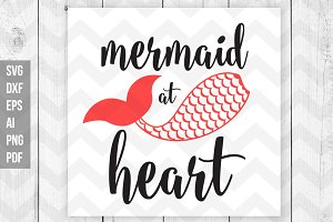 Mermaid at heart SVG/DXF/Print files