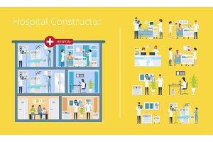 Hospital Constructor Scheme Vector Illustration