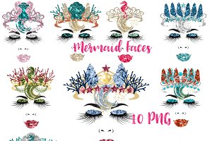 Mermaid Faces Clipart