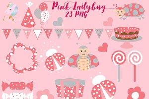 Cute Pink Ladybug Clipart