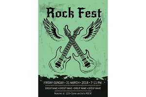 Rock Fest Party Announcement Poster Design
