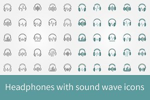 Headphones with sound wave icons set