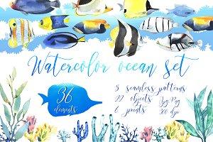 Watercolor ocean set!