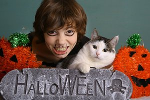 teenager boy kid halloween make up and decor with cat