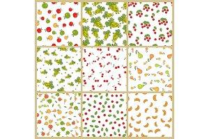 Autumn Plants Element Vector Seamless Patterns Set