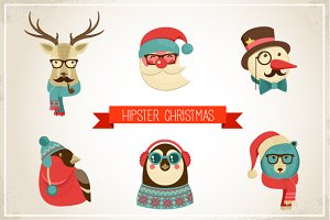 Vintage Hipster Christmas animals