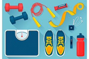 Convenient Equipment for Fitness Illustrations Set