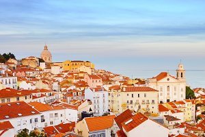 Lisbon Old Town at sunset. Portugal