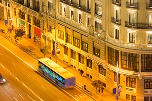 Grand Via street in Madrid at night