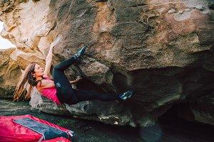 Brave climber woman