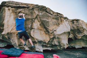 Rock climber man