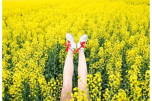 Female legs in sneakers sticking out of flowers. Legs up. Legs against the background of yellow rape blossoms