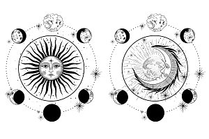 style engraving. Sun and moon