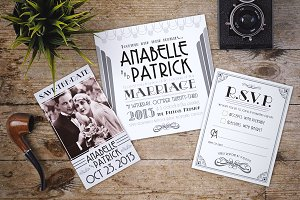 Art Deco Styled Wedding Invitation