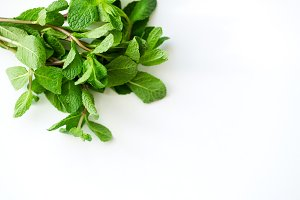 Overhead view of fresh mint leaves