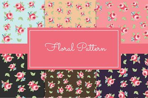Seamless Floral Pattern + Elements