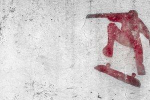 Skateboarding themed stencil graffit